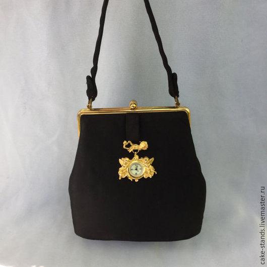 Винтажные сумки и кошельки. Ярмарка Мастеров - ручная работа. Купить Атласная мини сумочка черная вечерняя винтаж 1950e США Тиффани. Handmade.