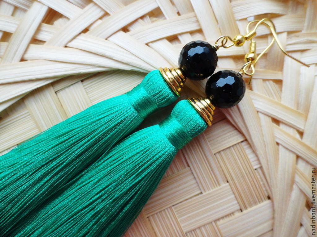Earrings brush Anastasia silk, natural agate, Tassel earrings, St. Petersburg,  Фото №1