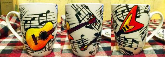 Кружки и чашки ручной работы. Ярмарка Мастеров - ручная работа. Купить Музыкальная кружка (0140). Handmade. Гитара, guitar, фарфор