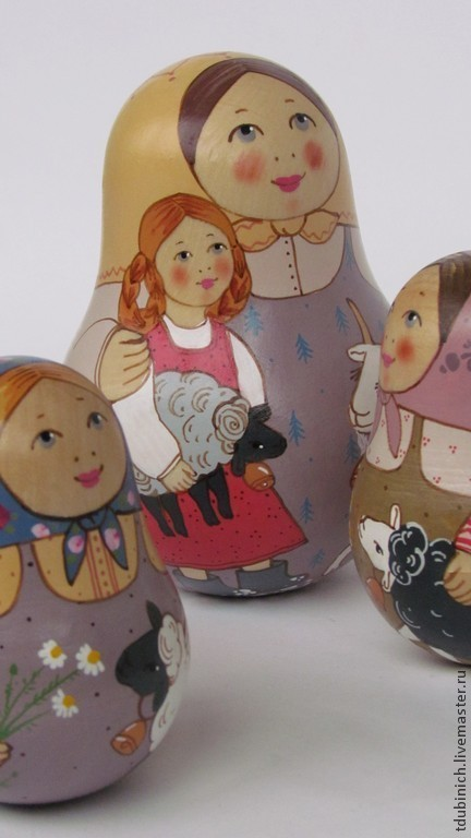 """Матрешки ручной работы. Ярмарка Мастеров - ручная работа. Купить Неваляшка крупная """"С козой и барашком"""", игрушка музыкальная, сувенир.. Handmade."""