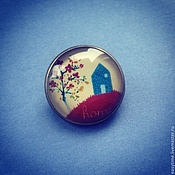"""Украшения ручной работы. Ярмарка Мастеров - ручная работа Брошь """"Домик и цветущая вишня"""". Handmade."""
