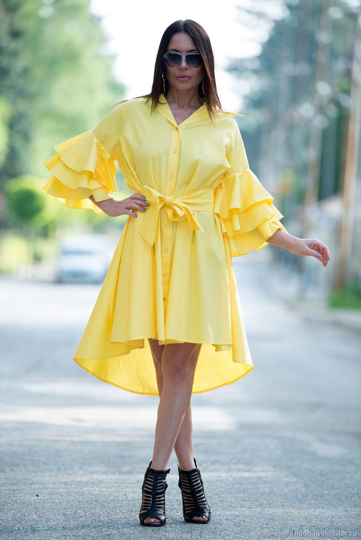 Bright yellow shirt dress with flounces - DR0168CT, Dresses, Sofia,  Фото №1