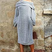 Одежда ручной работы. Ярмарка Мастеров - ручная работа Черно-белое макси миди весеннее платье, джемпер, водолазка. Handmade.