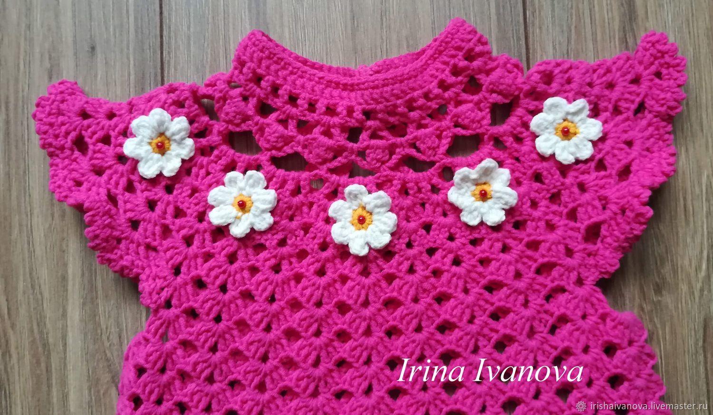 Вязаное летнее платье Цветочек для девочки 1 год крючком