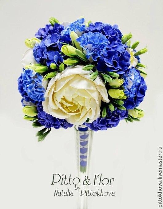 """Свадебные цветы ручной работы. Ярмарка Мастеров - ручная работа. Купить Букет невесты и бутоньерка из полимерной глины""""Свадьба в синих тонах"""". Handmade."""