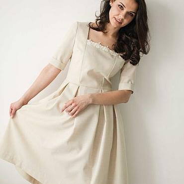 Одежда ручной работы. Ярмарка Мастеров - ручная работа Платье айвори с пышной юбкой и квадратной горловиной с кружевом. Handmade.