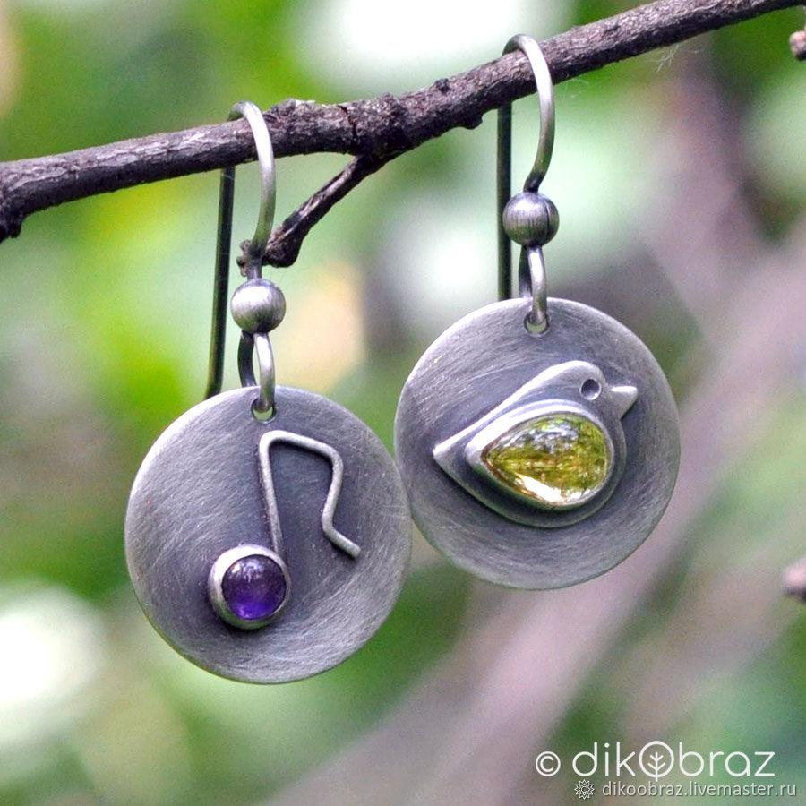 Silver Nightingale, amethyst and citrine earrings, Earrings, Moscow,  Фото №1