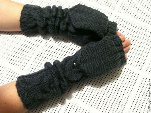 Варежки, митенки, перчатки ручной работы. Ярмарка Мастеров - ручная работа. Купить Варежки - трансформеры тёмно серые. Handmade.