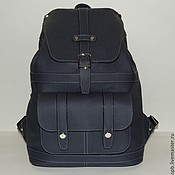 Сумки и аксессуары handmade. Livemaster - original item Blue leather backpack