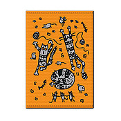 Канцелярские товары ручной работы. Ярмарка Мастеров - ручная работа Обложка на паспорт «Три кота». Handmade.