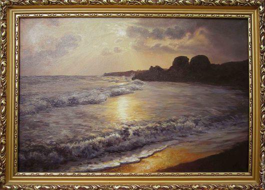 Пейзаж ручной работы. Ярмарка Мастеров - ручная работа. Купить Генеральские пляжи. Handmade. Комбинированный, подарок женщине, море живопись