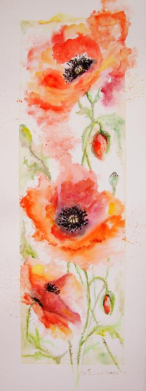 Картины цветов ручной работы. Ярмарка Мастеров - ручная работа. Купить Акварельные Маки. Handmade. Ярко-красный, картина с маками