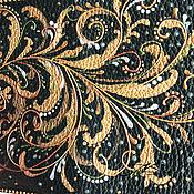 Канцелярские товары handmade. Livemaster - original item Passport cover genuine leather gold green patterns painting. Handmade.
