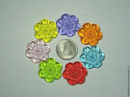 Другие виды рукоделия ручной работы. Ярмарка Мастеров - ручная работа. Купить Шапочки для бусин из акрила большие (2,3см) Цветочки разноцветные. Handmade.
