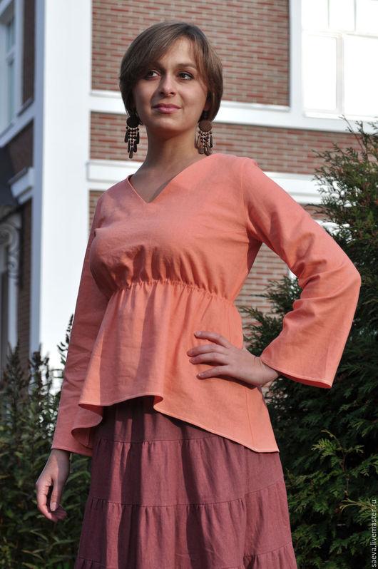 Кофты и свитера ручной работы. Ярмарка Мастеров - ручная работа. Купить Блузка льняная. Handmade. Оранжевый, v - образный вырез