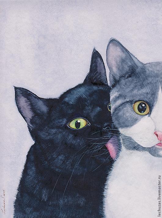 Кошки. Это любовь?! акварель, размер 22см*27см, Светлана Маркина, LechuzaS
