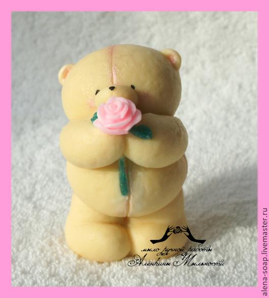 """Мыло ручной работы. Ярмарка Мастеров - ручная работа. Купить Мыло ручной работы """"Пухлячок с розочкой"""". Handmade. Мишка"""