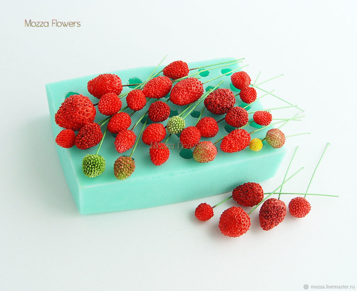 'Strawberry forest and garden mix NEW ' silicone mold, Molds for making flowers, Zarechny,  Фото №1