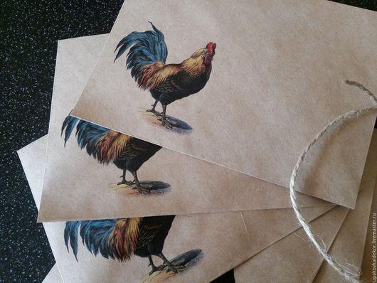 Упаковка ручной работы. Ярмарка Мастеров - ручная работа. Купить Крафт конверт с рисунком символ 2017 года Петух. Handmade.