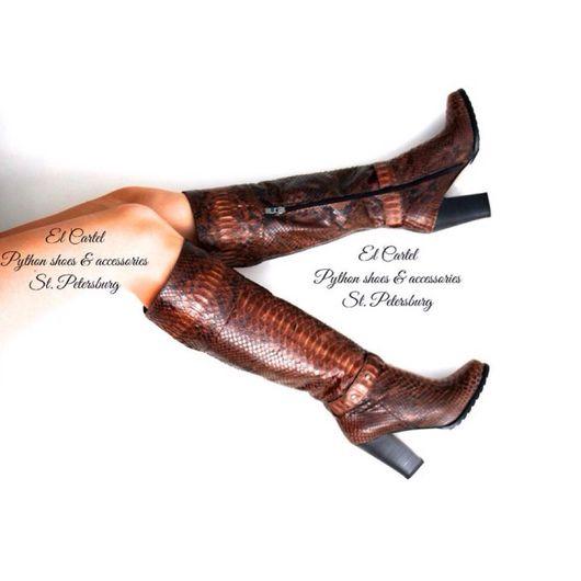 Обувь ручной работы. Ярмарка Мастеров - ручная работа. Купить Сапоги из кожи питона на каблуке .. Handmade. Сапоги женские, питоновыесапоги