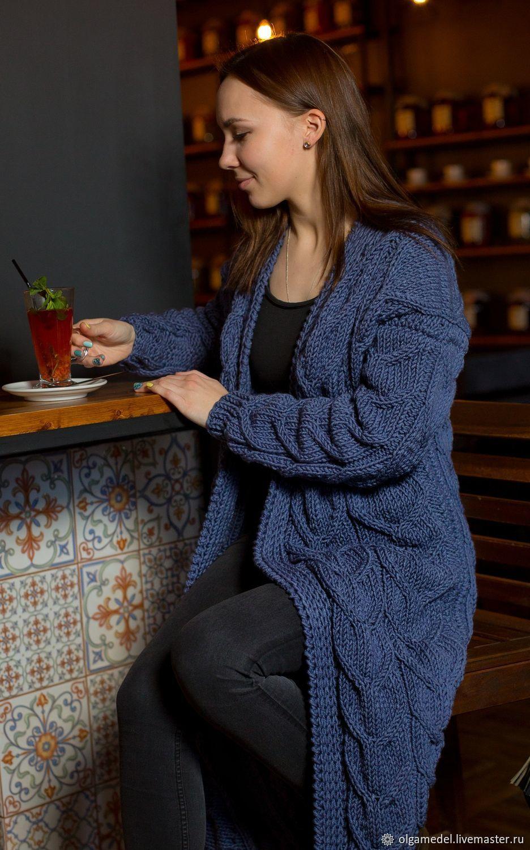 cardigans: Women's knitted cardigan coat oversize in denim color, Cardigans, Yoshkar-Ola,  Фото №1