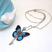 Украшения handmade. Livemaster - original item Transparent Pendant Key Black Blue Butterfly Vintage Key on a Chain. Handmade.
