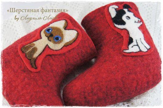 """Детская обувь ручной работы. Ярмарка Мастеров - ручная работа. Купить Детские валенки """"Гав и Шарик"""". Handmade. Рисунок"""