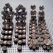 Винтаж ручной работы. Ярмарка Мастеров - ручная работа Клипсы разные длинные монтаниты Чехословакия кристаллы  60-е винтаж. Handmade.