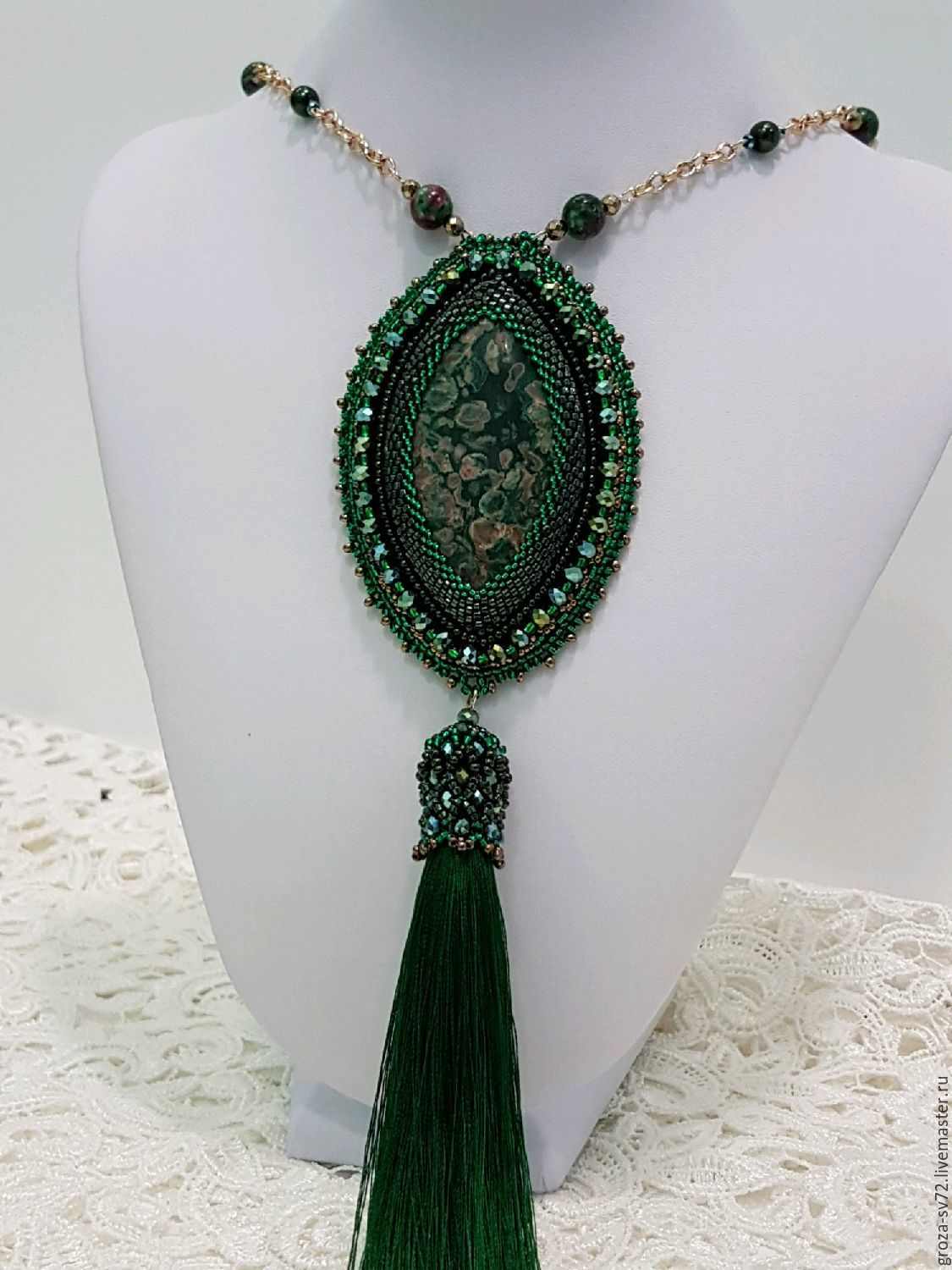 Pendant-a pendant made of Jasper embroidered beaded ' Fern ', Pendants, Moscow,  Фото №1