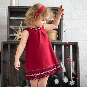 """Работы для детей, ручной работы. Ярмарка Мастеров - ручная работа Льняное платье для девочки  """"Моя ягодка"""". Handmade."""