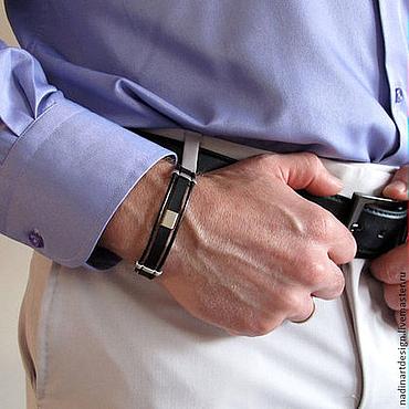 Украшения ручной работы. Ярмарка Мастеров - ручная работа Браслет для мужчин с регулируемым размером. Кожаный браслет. Handmade.