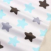 Ткани ручной работы. Ярмарка Мастеров - ручная работа Ткань хлопок  голубые серые звездочки на белом. Сатин. 100% Хлопок. Handmade.