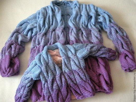 Кофты и свитера ручной работы. Ярмарка Мастеров - ручная работа. Купить Кардиган с градиентом 1+1 фемили лук. Handmade. Разноцветный