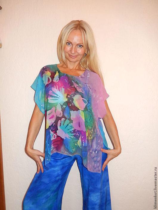 Блузки ручной работы. Ярмарка Мастеров - ручная работа. Купить блуза-кимоно - Тайны моря. Handmade. Бирюзовый, блузка