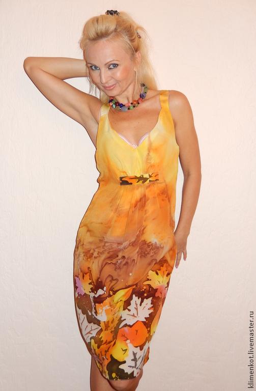 Платья ручной работы. Ярмарка Мастеров - ручная работа. Купить платье-Осень золотая. Handmade. Желтый, Батик, нарядное платье