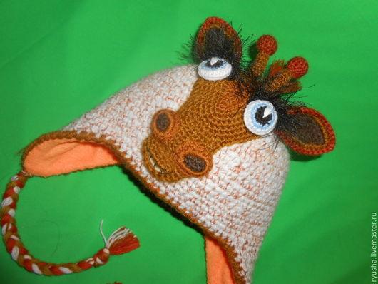 """Шапки и шарфы ручной работы. Ярмарка Мастеров - ручная работа. Купить Шапка с ушками """" Жираф большой-ему видней"""". Handmade."""