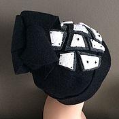 Аксессуары ручной работы. Ярмарка Мастеров - ручная работа Высокая черно-белая шапочка. Handmade.