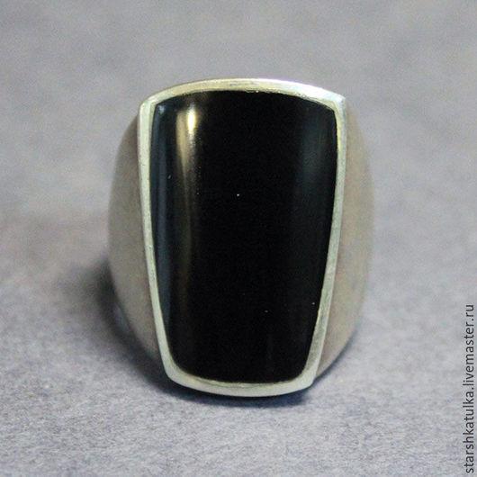 Винтажные украшения. Ярмарка Мастеров - ручная работа. Купить Кольцо с черным агатом. Handmade. Черный, кольцо, серебро