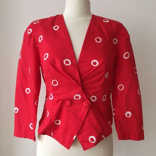 Одежда. Ярмарка Мастеров - ручная работа. Купить Винтажный жакет 1980-1990 годов. Handmade. Яркий жакет, в горошек, ретро