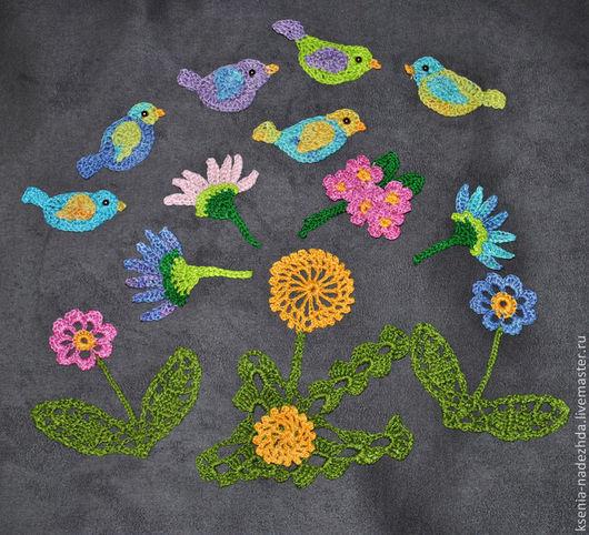 """Аппликации, вставки, отделка ручной работы. Ярмарка Мастеров - ручная работа. Купить Вязаная аппликация """"Весенние цветы"""". Handmade. Разноцветный"""