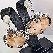 Серьги классические ручной работы. Ярмарка Мастеров - ручная работа Серьги с беломоритом,лунным камнем и лабрадором в серебре,выполненный. Handmade.