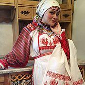 Русский стиль handmade. Livemaster - original item The kit apron and towel. Handmade.
