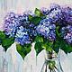 Картины цветов ручной работы. Сирень в прозрачной вазе. K&ART. Ярмарка Мастеров. Голубой, сирень, картина в подарок, масло