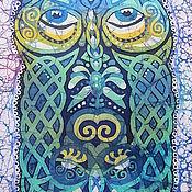 """Картины и панно ручной работы. Ярмарка Мастеров - ручная работа Батик-картина """"Сова"""". Handmade."""