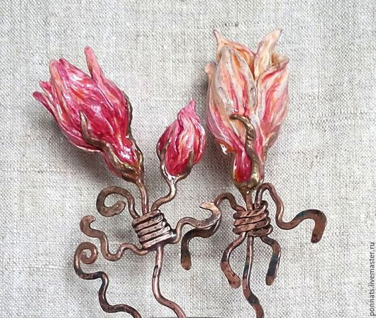 Заколки ручной работы. Ярмарка Мастеров - ручная работа. Купить Шпильки для волос. Handmade. Разноцветный, розовый