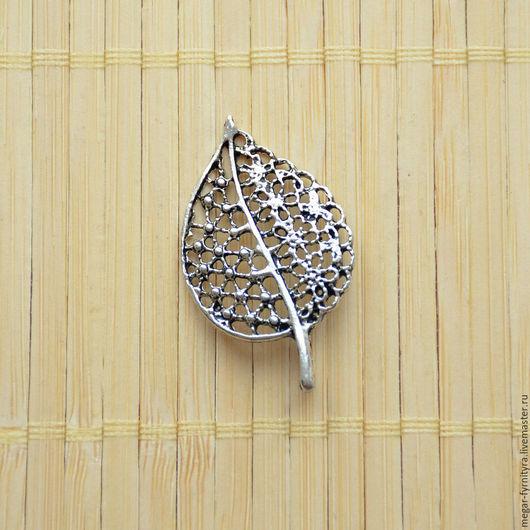 Для украшений ручной работы. Ярмарка Мастеров - ручная работа. Купить Подвеска Листик 23x39 мм Серебро. Handmade. Серебряный