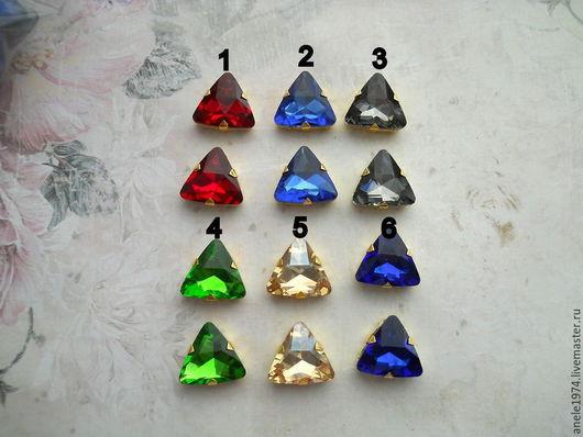 Для украшений ручной работы. Ярмарка Мастеров - ручная работа. Купить Треугольные хрустальные стразы в золотых цапах 18мм. Handmade.