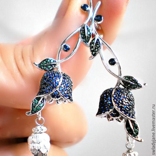 Серьги ручной работы. Ярмарка Мастеров - ручная работа. Купить Серебряные серьги с топазами London blue Италия BLUE LILY. Handmade.