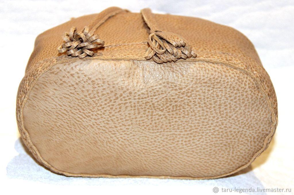 Сумка-торба кожаная песочная