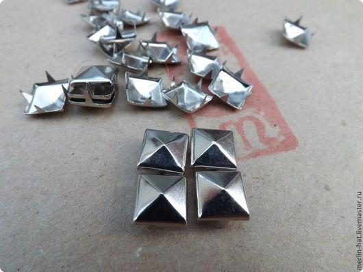 Шитье ручной работы. Ярмарка Мастеров - ручная работа. Купить Заклепки Пирамидки (хольнитены) 10 мм.. Handmade. Серебряный, клепки